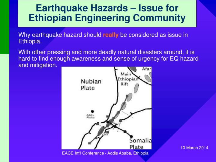 Earthquake hazards issue for ethiopian engineering community