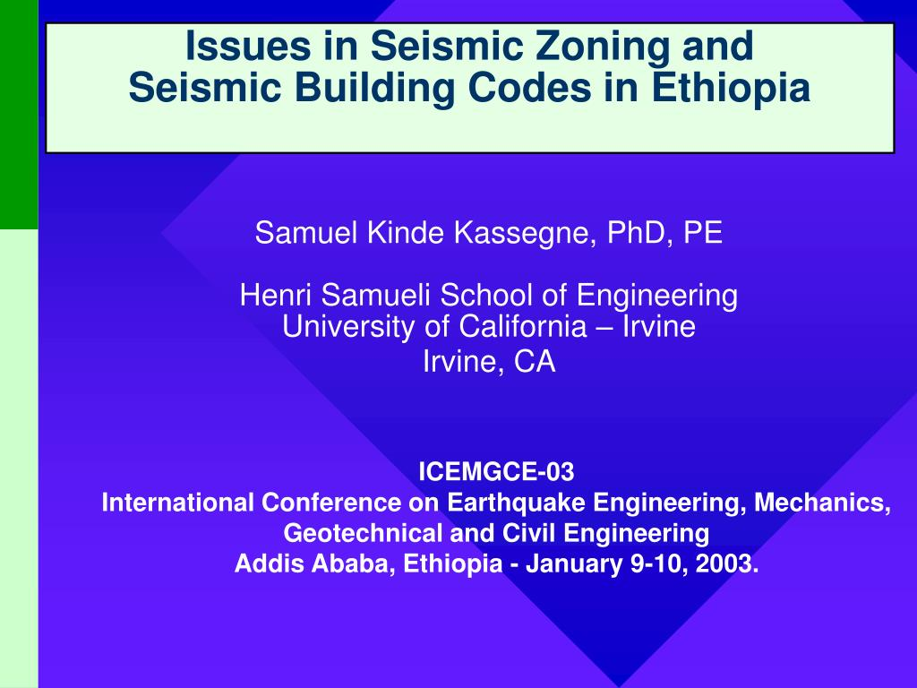 issues in seismic zoning and seismic building codes in ethiopia l.