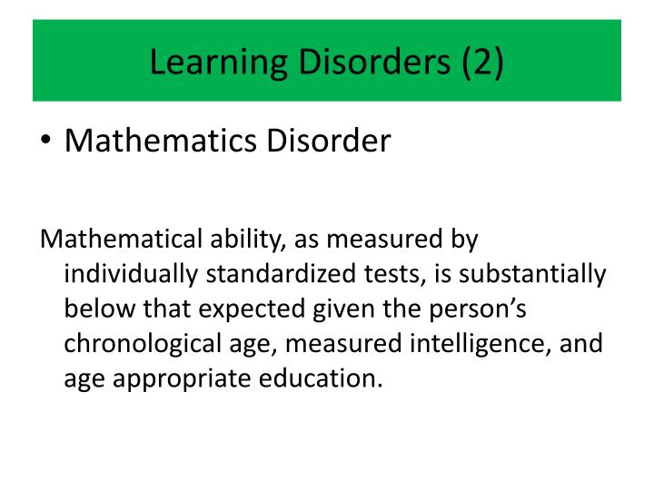 Learning Disorders (2)