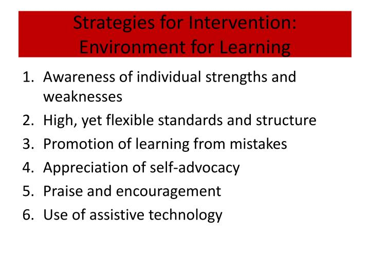 Strategies for Intervention: