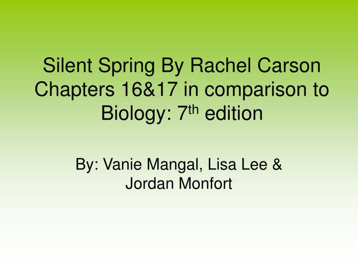 silent spring essay questions Welcome to the litcharts study guide on rachel carson's silent spring created by the original team behind sparknotes, litcharts are the world's best literature guides rachel carson was an important figure in modern american environmentalism, whose work is sometimes credited with creating the.