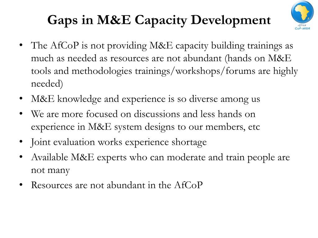 Gaps in M&E Capacity Development