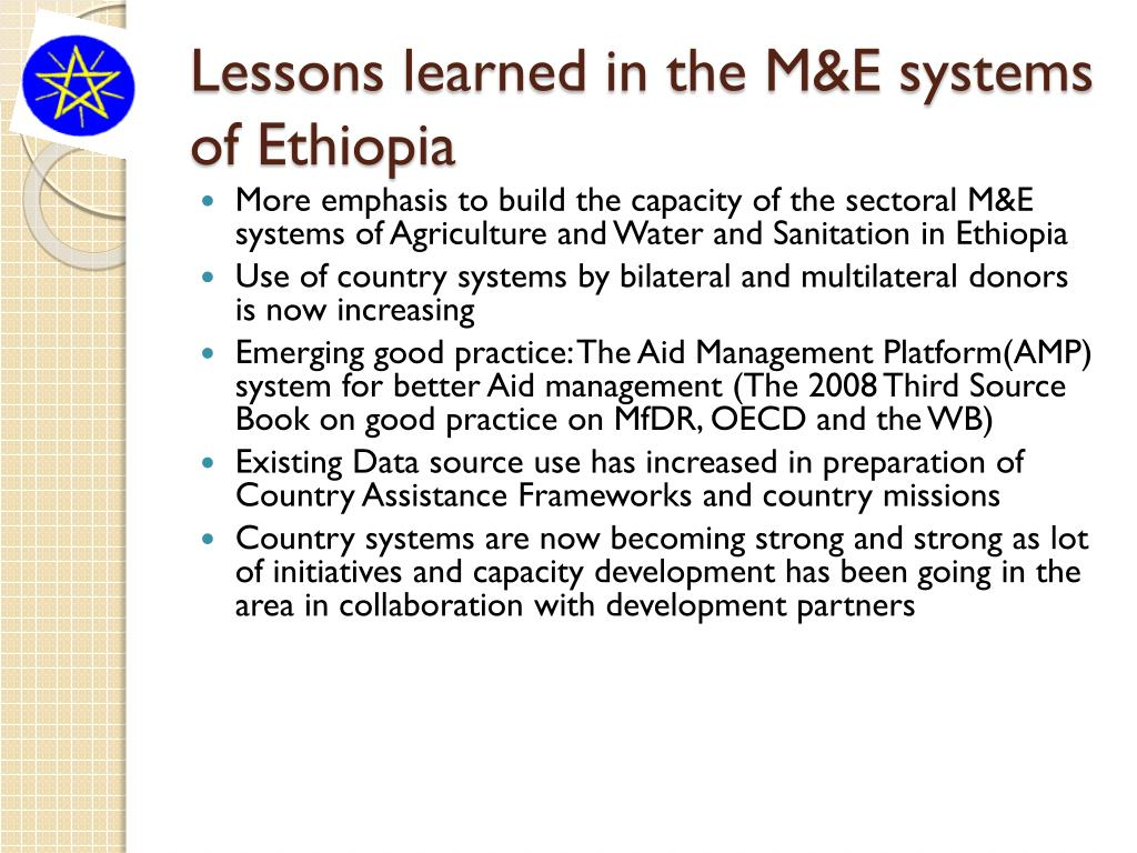 Lessons learned in the M&E systems of Ethiopia