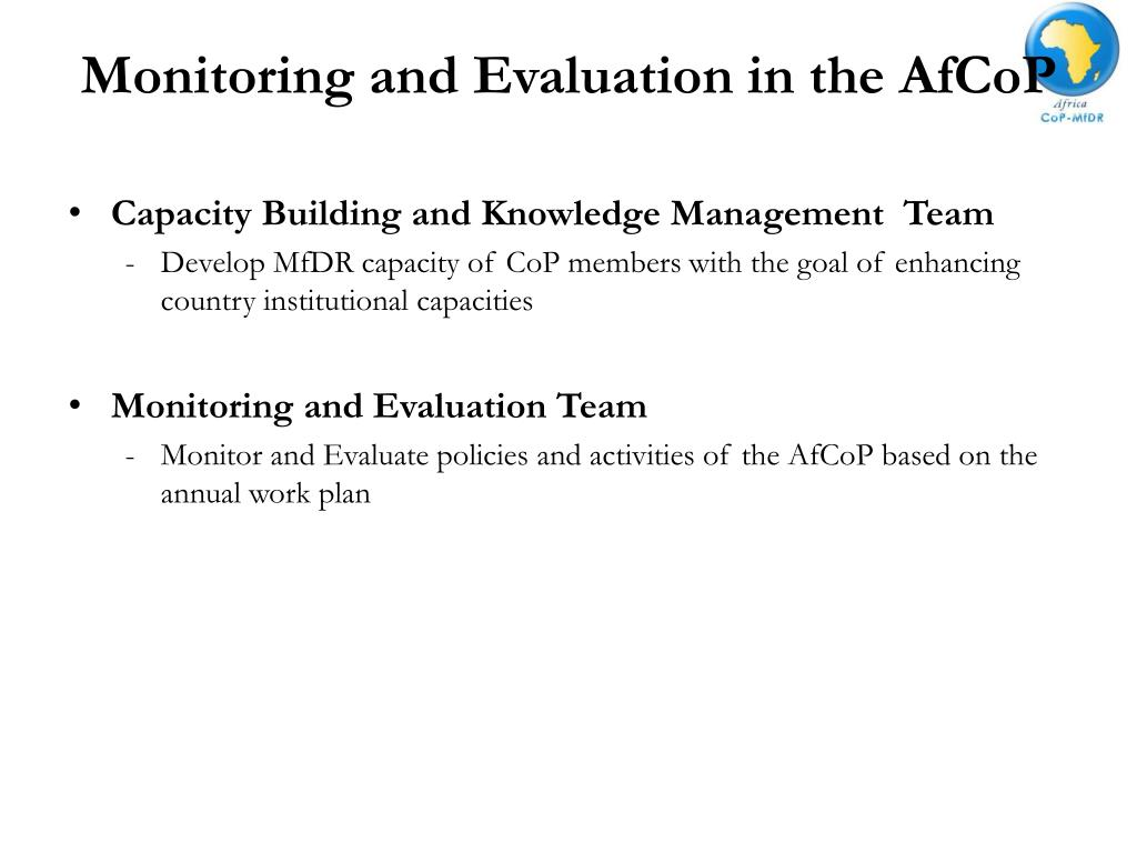 Monitoring and Evaluation in the AfCoP