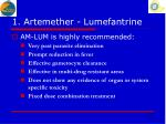 1 artemether lumefantrine