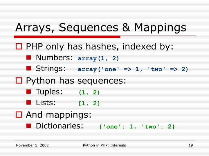 Arrays, Sequences & Mappings