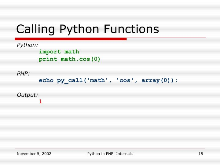 Calling Python Functions