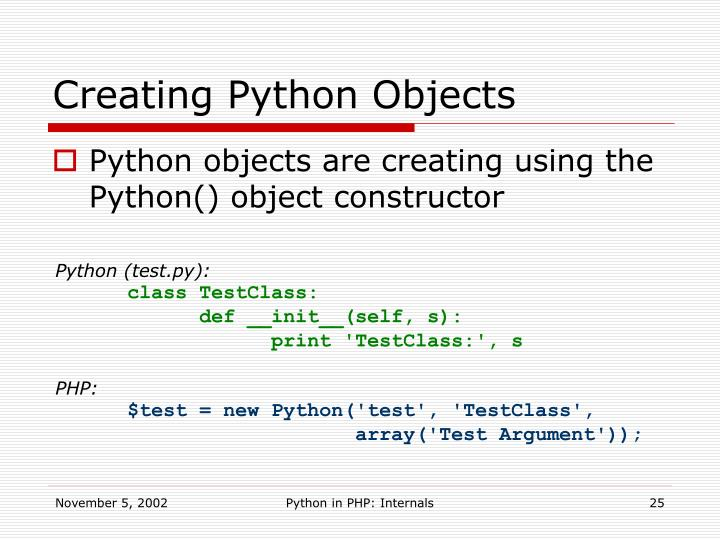 Creating Python Objects