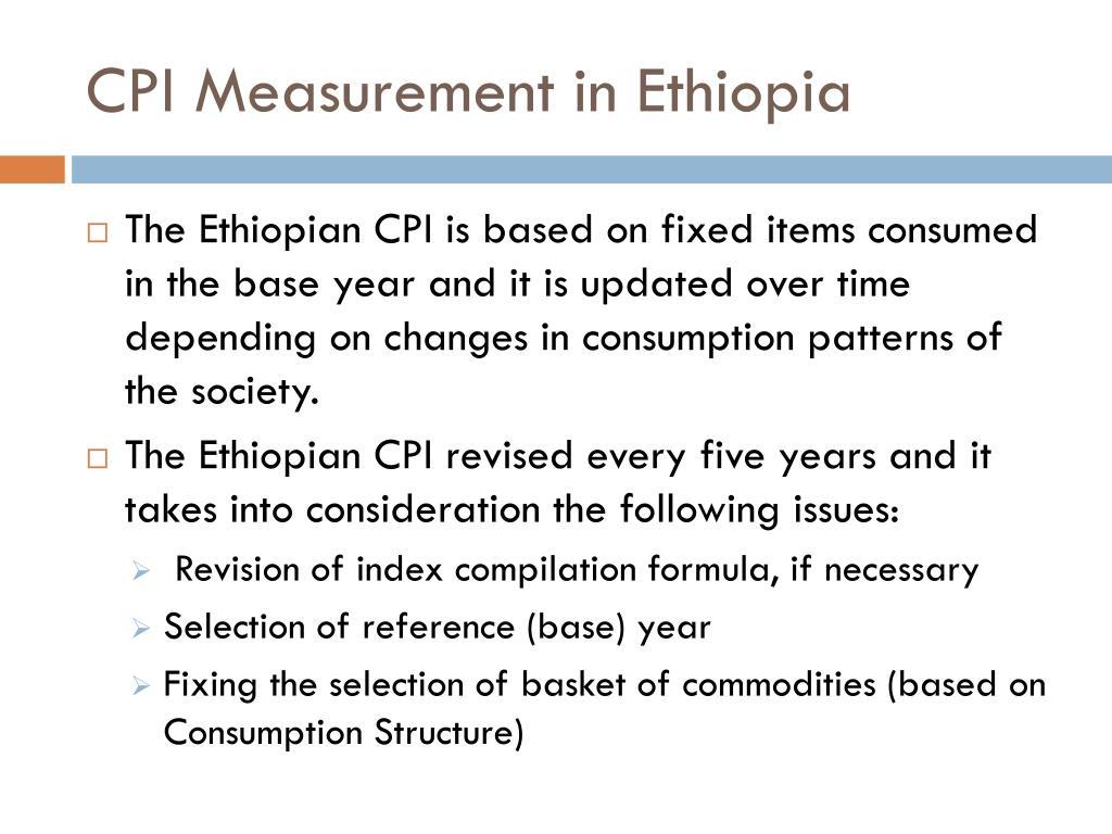 CPI Measurement in Ethiopia