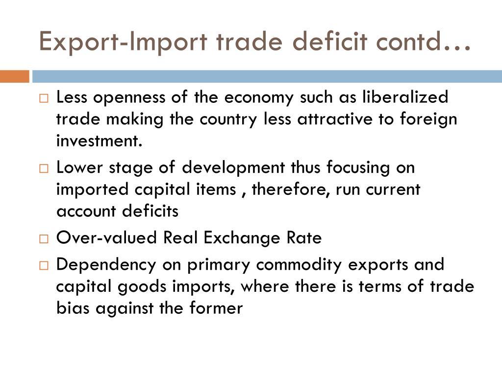 Export-Import trade deficit contd…