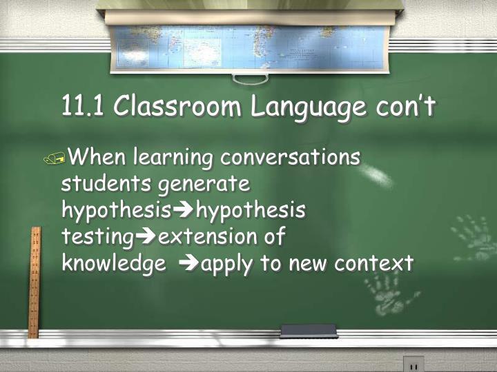 11.1 Classroom Language con't