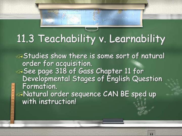 11.3 Teachability v. Learnability