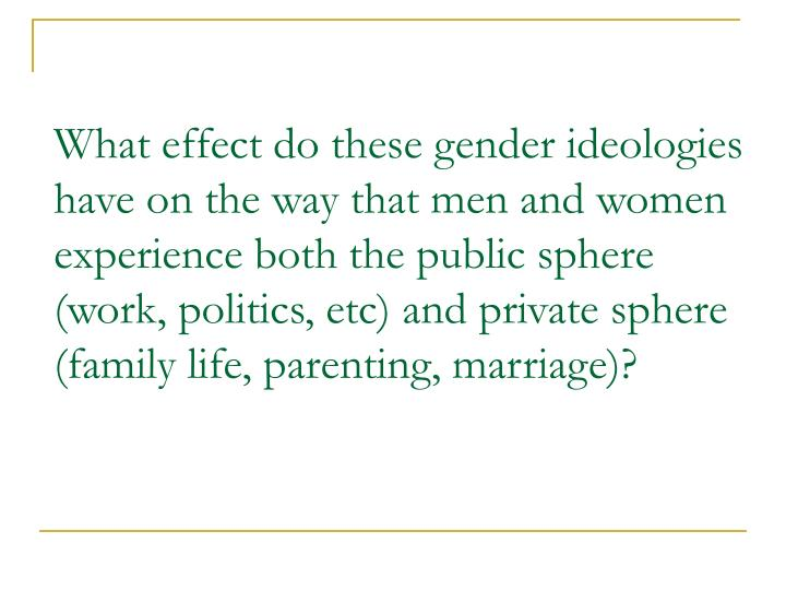 What effect do these gender ideologies have on the way that men and women experience both the public sphere (work, politics, etc) and private sphere (family life, parenting, marriage)?