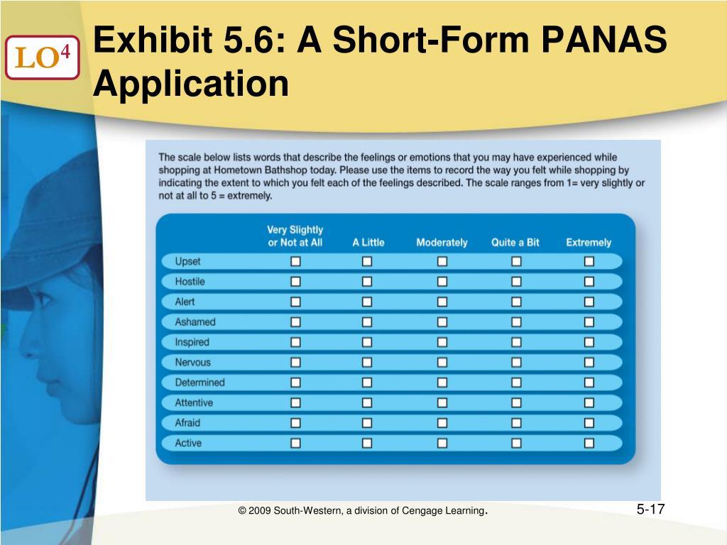 Exhibit 5.6: A Short-Form PANAS Application