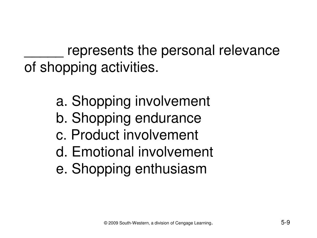 _____ represents the personal relevance of shopping activities.