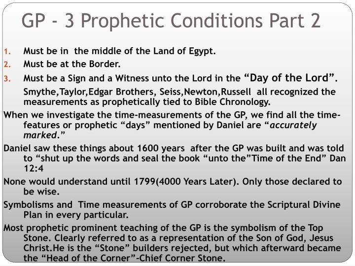 GP - 3 Prophetic Conditions Part 2