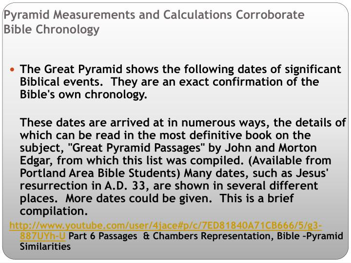 Pyramid Measurements and Calculations Corroborate         Bible Chronology
