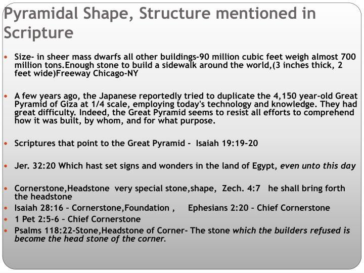 Pyramidal Shape, Structure mentioned in Scripture