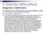 il disturbo della lettura diagnosi e definizioni