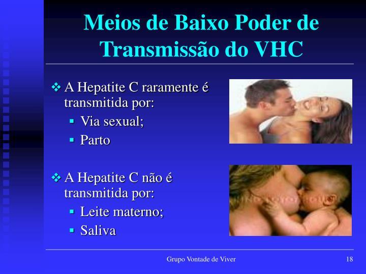 Meios de Baixo Poder de Transmissão do VHC