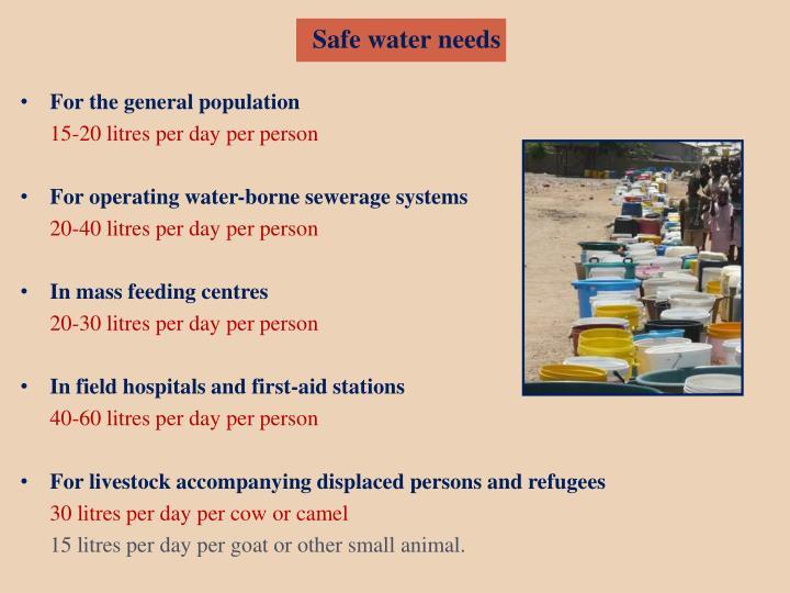 Safe water needs
