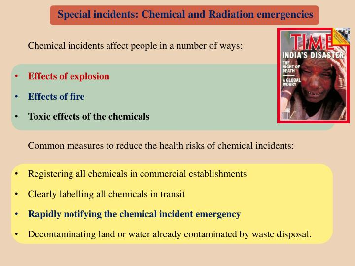 Special incidents: Chemical and Radiation emergencies
