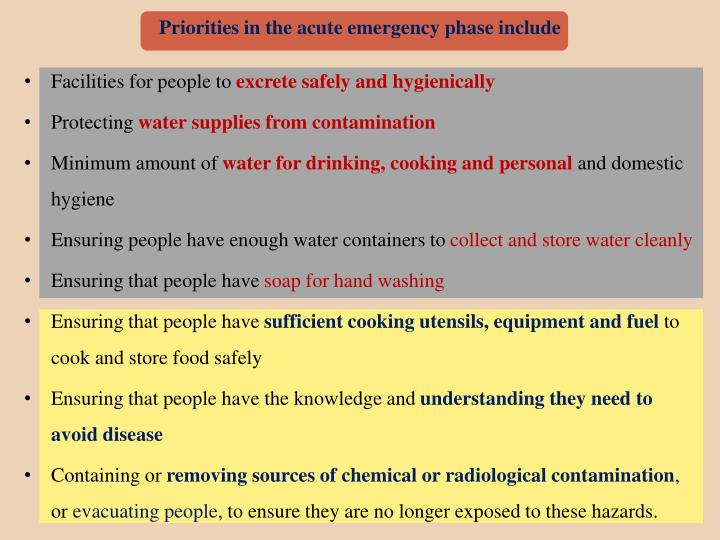 Priorities in the acute emergency phase include