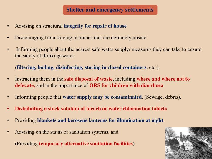 Shelter and emergency settlements