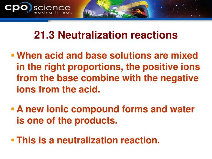21.3 Neutralization reactions