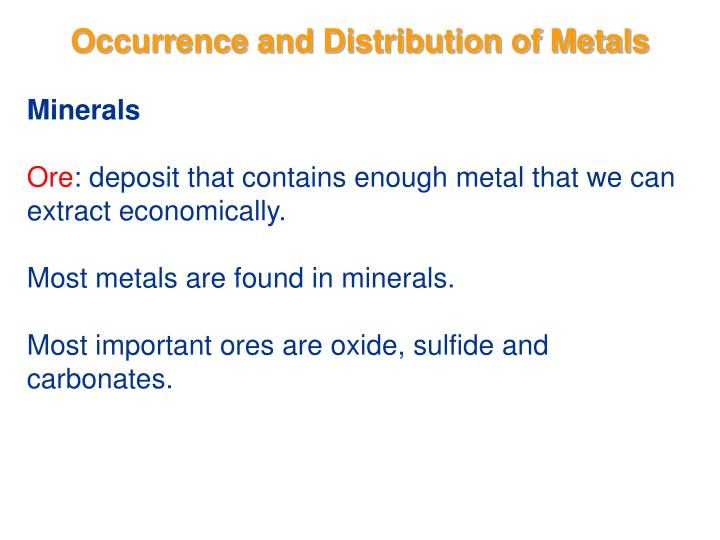 occurrence and distribution of metals n.