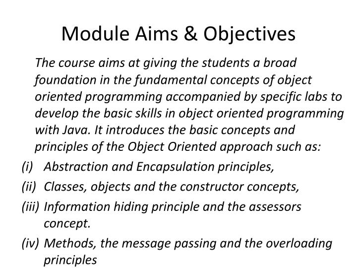 Module aims objectives