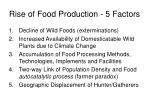 rise of food production 5 factors