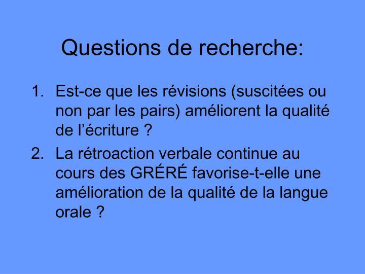 Questions de recherche: