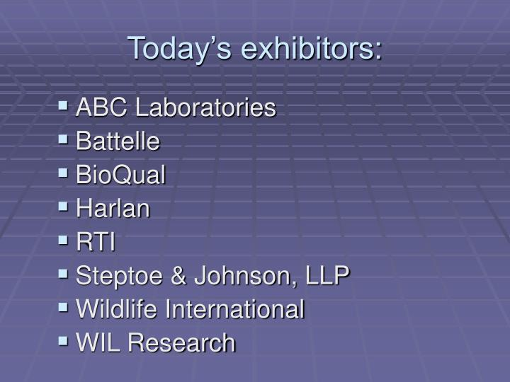 Today s exhibitors