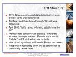 tariff structure