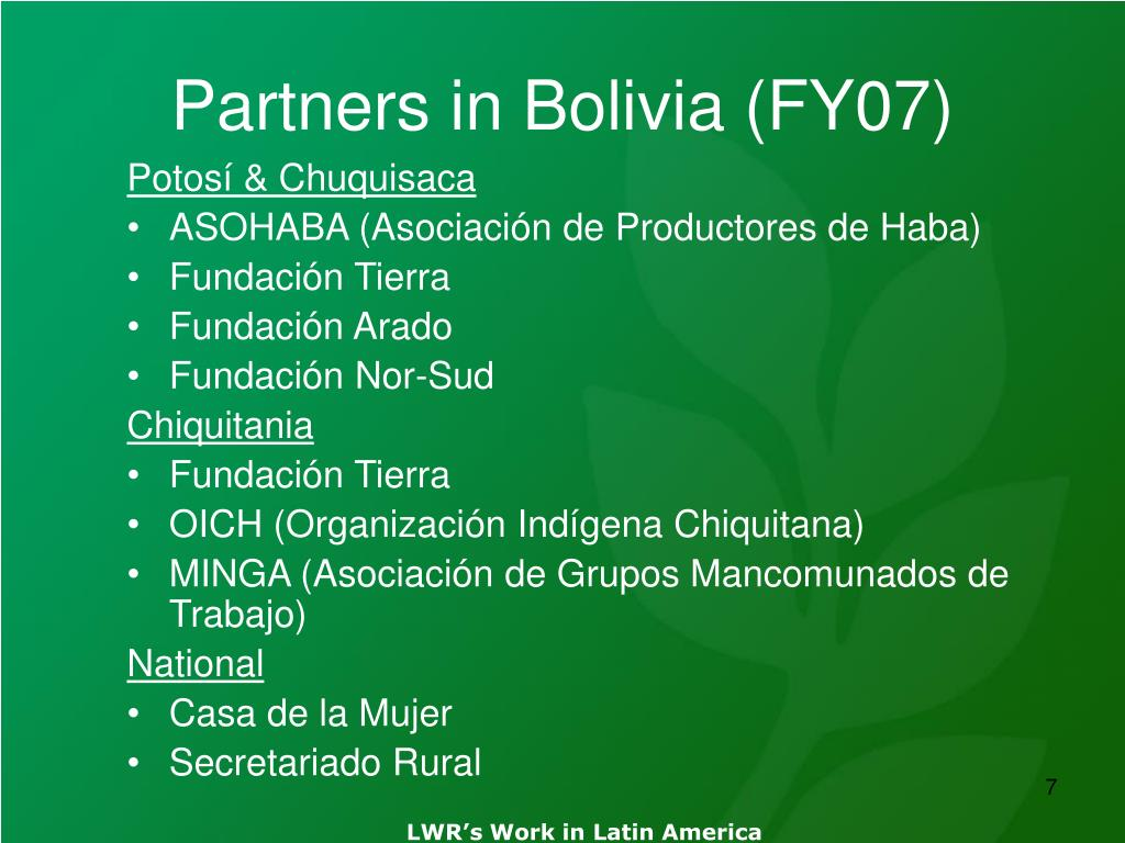 Partners in Bolivia (FY07)