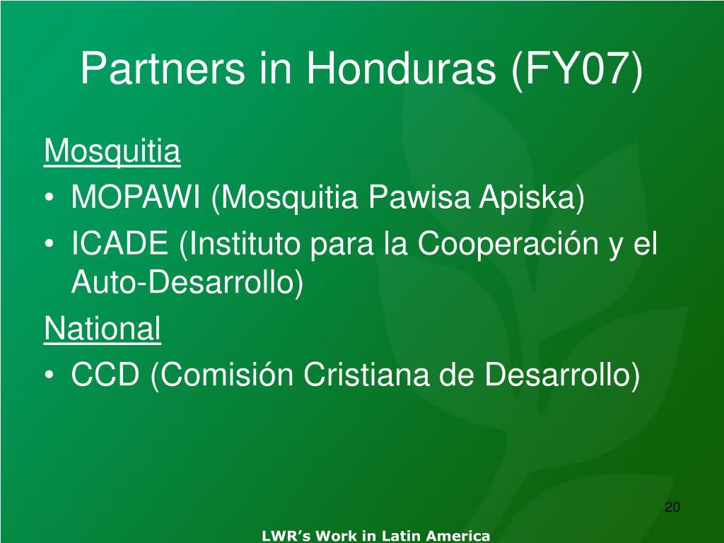 Partners in Honduras (FY07)