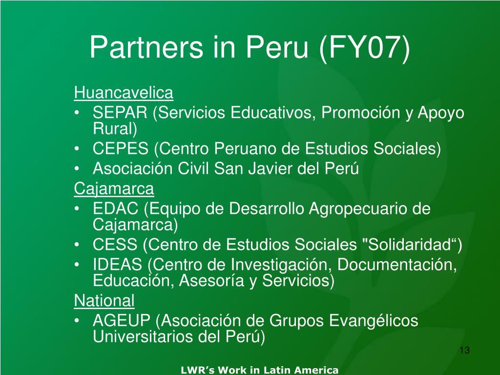 Partners in Peru (FY07)