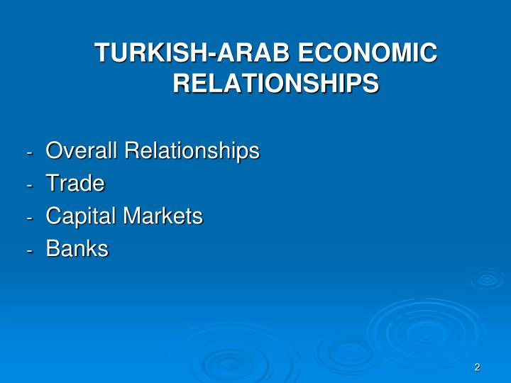 TURKISH-ARAB ECONOMIC RELATIONSHIPS