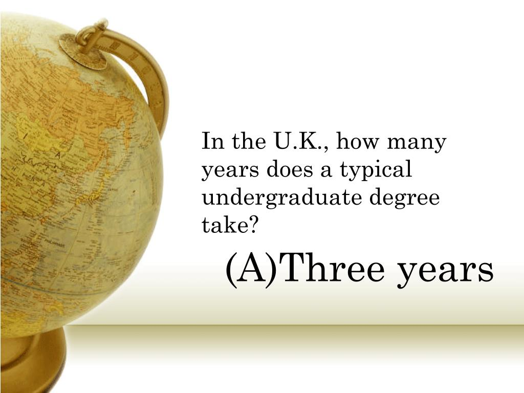 In the U.K., how many years does a typical undergraduate degree take?