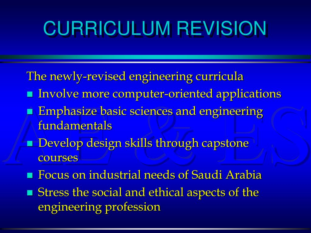 The newly-revised engineering curricula