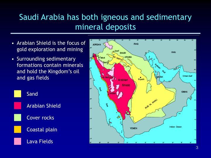 Saudi arabia has both igneous and sedimentary mineral deposits