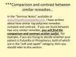 comparison and contrast between similar remedies
