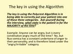 the key in using the algorithm