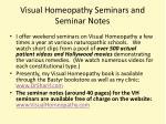 visual homeopathy seminars and seminar notes