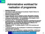 administrative workload for realisation of programme