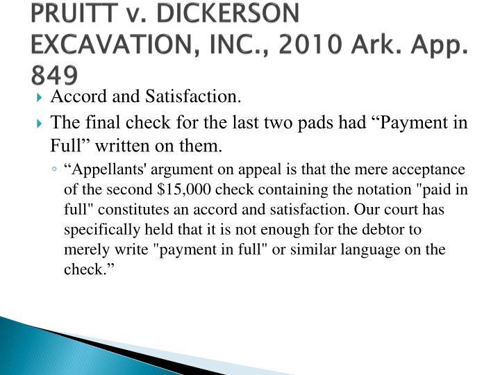 PRUITT v. DICKERSON EXCAVATION, INC., 2010 Ark. App. 849