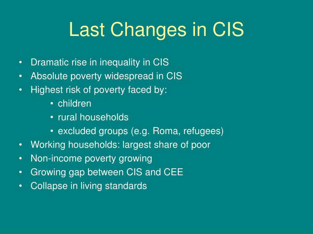 Last Changes in CIS