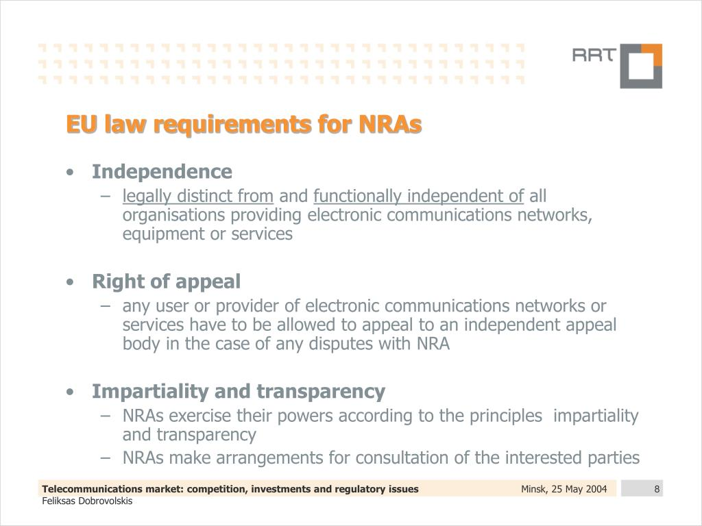 EU law requirements for NRAs