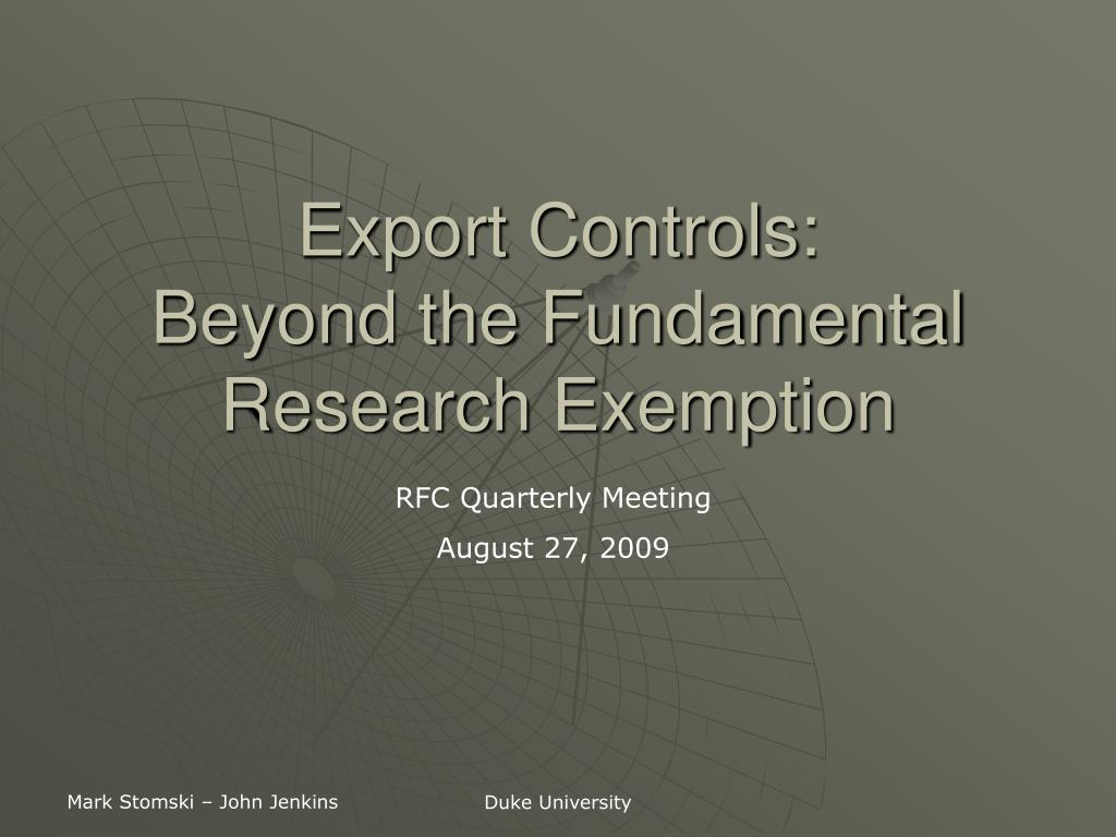 export controls beyond the fundamental research exemption l.